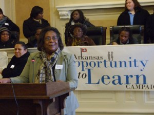 Ms. Lillie Miller of Marvell advocating for a great education for all Arkansas students.
